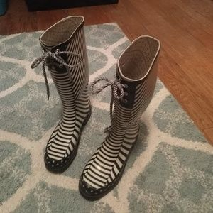 Chooka Rain Boots - Navy and Cream Stripes